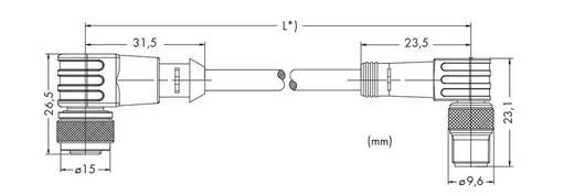 Sensor-/Aktor-Steckverbinder, konfektioniert M12 Stecker, gewinkelt, Buchse, gewinkelt 2 m Polzahl: 3 WAGO 756-5504/030-