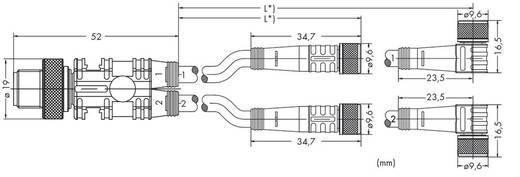 Sensor-/Aktor-Verteiler und Adapter M12 Stecker, gerade, Buchse, gerade, Buchse, gerade 1 m WAGO 756-5513/040-010 10 S