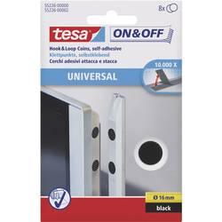 Samolepicí podložka se suchým zipem TESA On & Off 55226-00-01, černá, Ø 16 mm, černá, 8 pár
