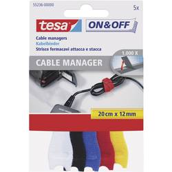 Barevné stahovací pásky na suchý zip Tesa On&Off, 12 mm x 20 cm, 5 ks