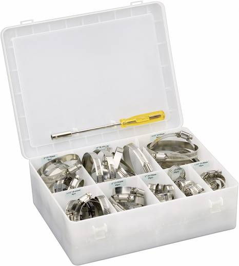 Schlauchschellen Sechskantschraubenkopf mit Schlitz Silber Conrad Components 547100 93 Teile