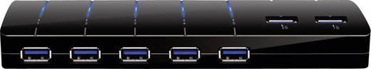 7+2 Port USB 3.0-Hub mit Schnellladeport, mit Status-LEDs Schwarz