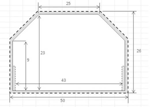 Kabelkanal Aluminium Abmessungen (L x B x H) 1100 x 50 x 26 mm