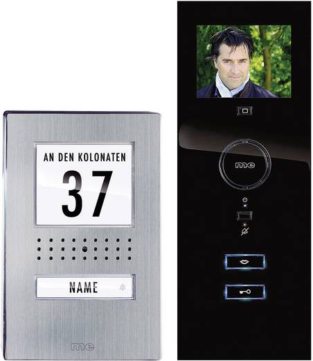 Video-Türsprechanlage Kabelgebunden Komplett-Set m-e modern-electronics 1 Familienhaus Edelstahl, Schwarz