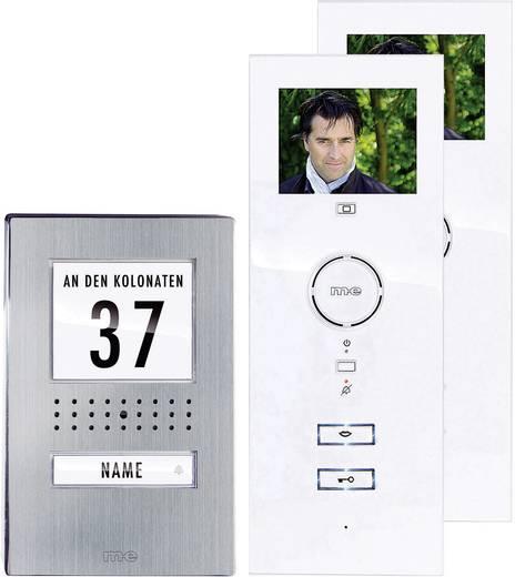 m-e modern-electronics Video-Türsprechanlage Kabelgebunden Komplett-Set 1 Familienhaus Edelstahl, Weiß
