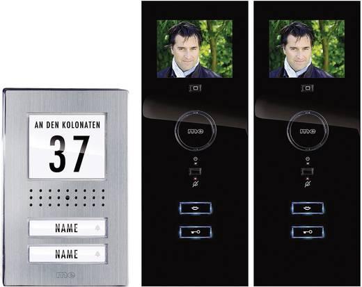 m-e modern-electronics Video-Türsprechanlage Kabelgebunden Komplett-Set 2 Familienhaus Edelstahl, Schwarz
