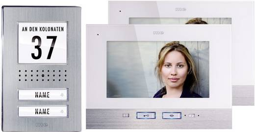 Video-Türsprechanlage Kabelgebunden Komplett-Set m-e modern-electronics 2 Familienhaus Edelstahl, Weiß