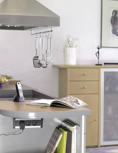 Steckdosenleiste ohne Schalter 3fach Aluminium, Schwarz Schutzkontakt EVOline 159610000900