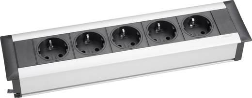 EVOline 159610011700 Steckdosenleiste ohne Schalter 5fach Aluminium, Schwarz Schutzkontakt