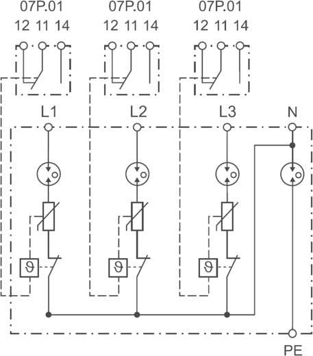 Finder 7P0482601025 7P.04.8.260.1025 Überspannungsschutz-Ableiter Überspannungsschutz für: Verteilerschrank 30 kA
