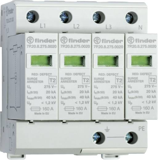 Finder 7P2582751020 7P.25.8.275.1020 Überspannungsschutz-Ableiter Überspannungsschutz für: Verteilerschrank 20 kA
