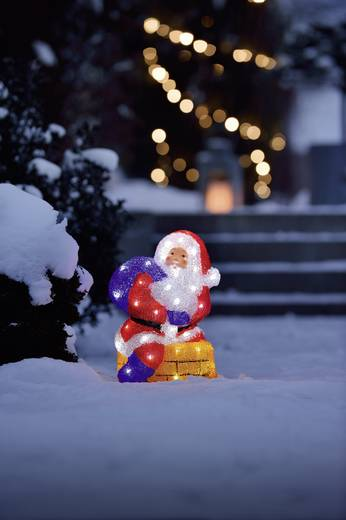 LED Acryl Weihnachtsmann mit Schornstein