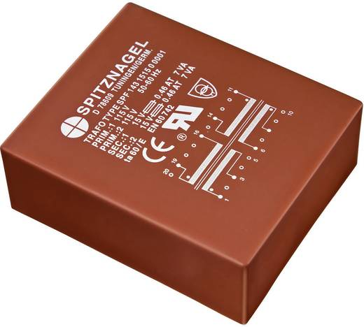 Printtransformator 2 x 115 V 2 x 12 V 6 VA 250 mA SPF 0641212 Spitznagel