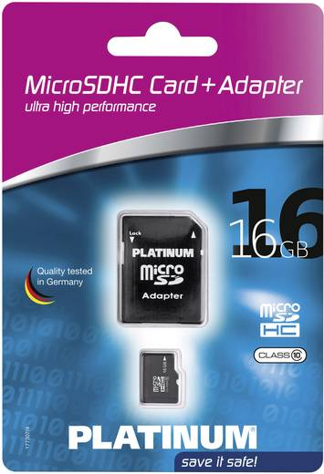 Platinum MicroSDHC Karte 16GB Class 10 inkl. SD-Kartenadapter