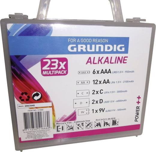 Alkaline-Batterien-Box 12 x Mignon, 6 x Micro, 2 x Baby, 2 x Mono und 1 x 9 V-Block