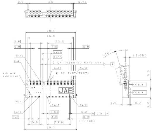 Verbindungsstiftleiste MM60 Polzahl Gesamt 52 JAE MM60-52B1-B1-R850 Rastermaß: 0.80 mm 1 St.