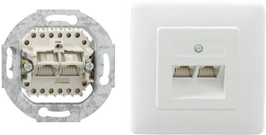 Netzwerkdose Unterputz Einsatz mit Zentralplatte und Rahmen 2 Port Rutenbeck 13010247 Reinweiß