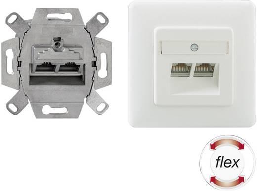 Netzwerkdose Unterputz Einsatz mit Zentralplatte und Rahmen CAT 6a 2 Port Rutenbeck 136112070 Reinweiß