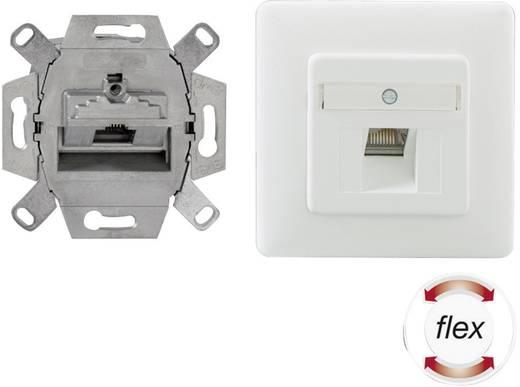 Netzwerkdose Unterputz Einsatz mit Zentralplatte und Rahmen CAT 6a 1 Port Rutenbeck 136112030 Reinweiß