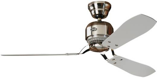 Deckenventilator Hunter Industrie BN (Ø) 132 cm Flügelfarbe: Grau, Ahorn Gehäusefarbe: Chrom (gebürstet)