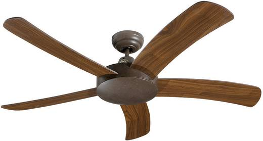 Deckenventilator CasaFan Falcetto BA (Ø) 132 cm Flügelfarbe: Nussbaum Gehäusefarbe: Braun-antik
