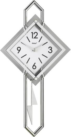 Mebus 665102 Quarz Wanduhr 28 cm x 54 cm Glas, Silber, Weiß