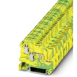 Trojitá svorka ochranného vodiča Phoenix Contact UT 2,5-TWIN/1P-PE 3060513, 50 ks, zelená, žltá