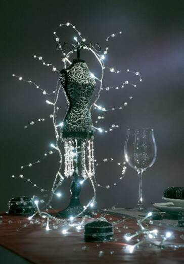 Motiv-Lichterkette Perlen 32 LED Kalt-Weiß Beleuchtete Länge: 2 m Konstsmide 1231-203