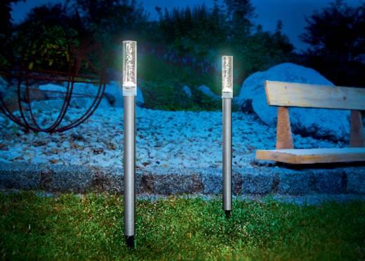 Esotec Solar-Gartenleuchte Twin 102064 2er Set LED Tageslicht-Weiß Silber