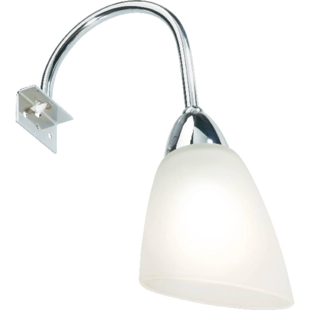 Lampe de miroir 25 w chrome blanc satin for Lampe miroir