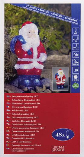 Acryl-Figur Weihnachtsmann Kalt-Weiß LED Konstsmide 6153-203 Multi-Color