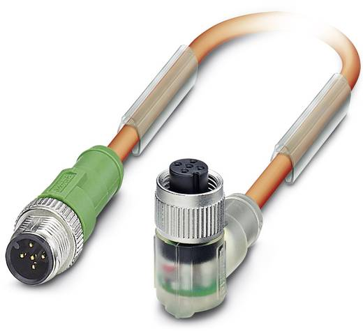 Sensor-/Aktor-Steckverbinder, konfektioniert M12 Stecker, gerade, Buchse, gewinkelt 0.60 m Polzahl (RJ): 5 Phoenix Conta
