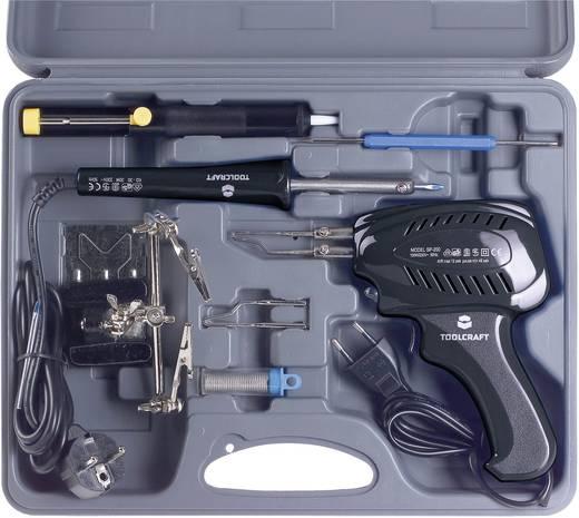 Lötkolben-Set 230 V 100 W TOOLCRAFT SK 3000 Vernickelte Lötspitze inkl. Lötpistole, inkl. Ablage, inkl. Dritte Hand, inkl. Entlötsaugpumpe, inkl. Platinen-Reinigungsbesteck