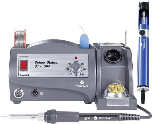 Lötstation Set analog 50 W TOOLCRAFT ST-50A +150 bis +450 °C inkl. Ablage, inkl. Entlötsaugpumpe, inkl. Lötzinn, inkl. L