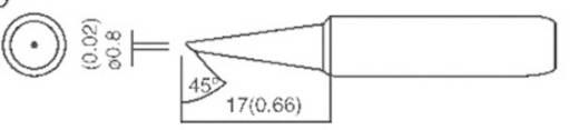 Lötspitze abgeschrägt 45° TOOLCRAFT T-0,8C Spitzen-Größe 0.8 mm Spitzen-Länge 17 mm Inhalt 1 St.