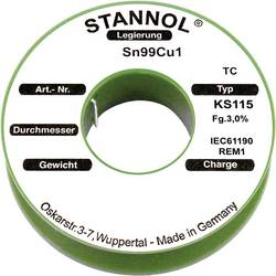 Cínová pájka PBF Sn99Cu1, Ø 0 ,7 mm, 100 g, Stannol KS115
