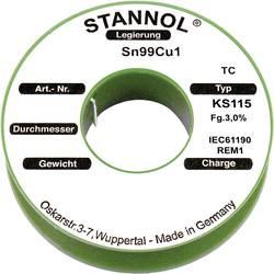 Cínová pájka PBF Sn99Cu1, Ø 1 mm, 250 g, Stannol KS115