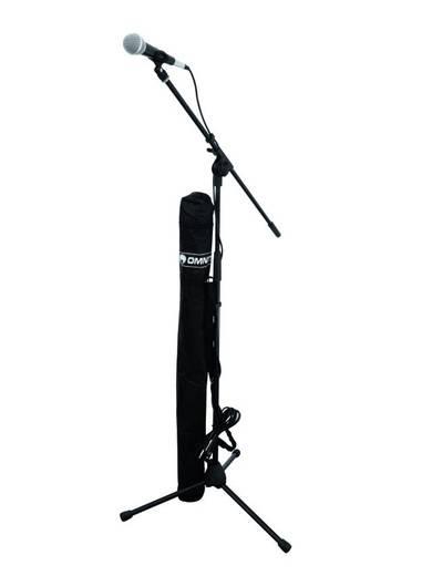 Hand Mikrofon-Set Omnitronic Übertragungsart:Kabelgebunden inkl. Kabel, inkl. Stativ, inkl. Klammer, inkl. Tasche
