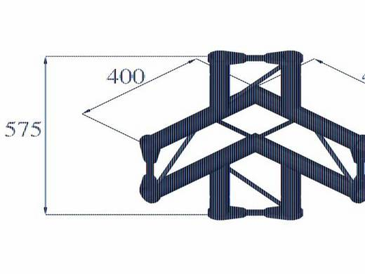 2-Punkt Traverse 4-Weg-Ecke 90 ° Alutruss BISYSTEM PV-44