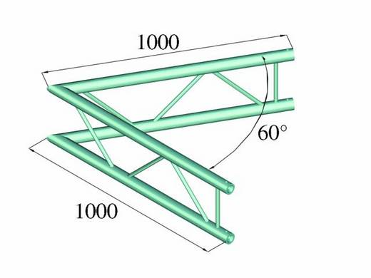 2-Punkt Traverse Ecke 60 ° Alutruss BILOCK BQ2-PAC20V