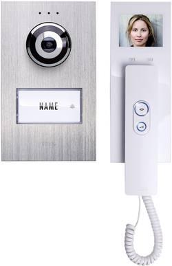 Kabelový domovní telefon m-e modern-electronics, pro 1 rodinu, stříbrná, bílá, kompletní sad