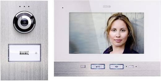 Türsprechanlage Kabelgebunden Komplett-Set m-e modern-electronics 1 Familienhaus Silber, Weiß