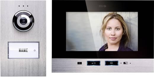 m-e modern-electronics Türsprechanlage Kabelgebunden Komplett-Set 1 Familienhaus Silber, Schwarz