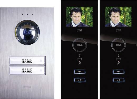 Türsprechanlage Kabelgebunden Komplett-Set m-e modern-electronics 2 Familienhaus Silber, Schwarz
