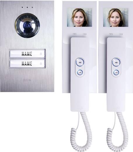m-e modern-electronics Türsprechanlage Kabelgebunden Komplett-Set 2 Familienhaus Silber, Weiß