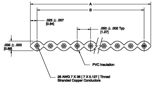 Flachbandkabel Rastermaß: 1.27 mm 25 x 0.08 mm² Grau 3M 7000057946 Meterware