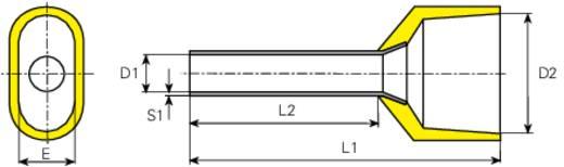 Zwillings-Aderendhülse 2 x 1 mm² x 8 mm Teilisoliert Gelb Vogt Verbindungstechnik 460308D 100 St.