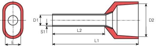 Zwillings-Aderendhülse 2 x 1.50 mm² x 8 mm Teilisoliert Rot Vogt Verbindungstechnik 460408D 100 St.