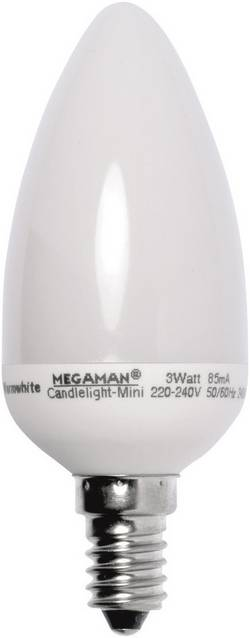 Úsporná žárovka svíčka Megaman Candlelight Mini E14, 3 W, teplá bílá