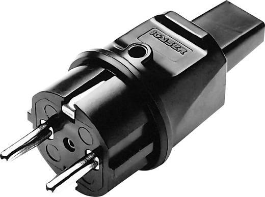 Schutzkontaktstecker Gummi für Lichterketten-Flachkabel 230 V Schwarz